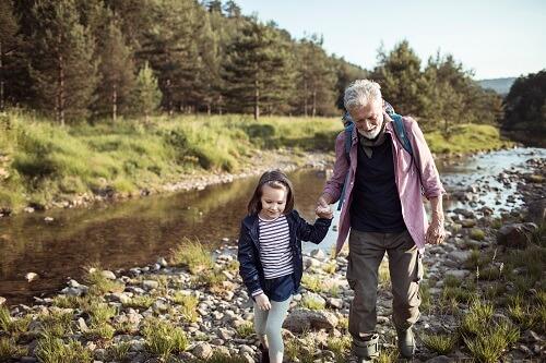 Grandpa and Grandaughter Hiking