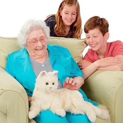 Senior Petting a Robotic Cat