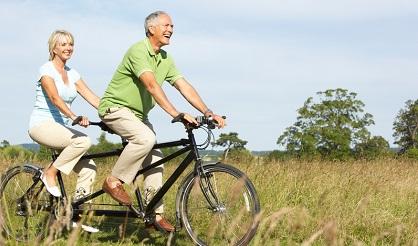 Seniors Riding on Bikes Together