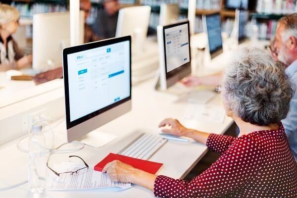 Seniors working on Computers